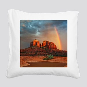 Rainbow In Grand Canyon Square Canvas Pillow