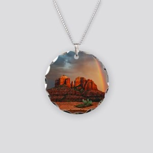 Rainbow In Grand Canyon Necklace Circle Charm