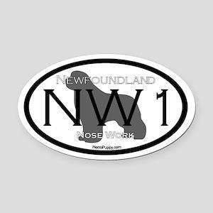 Newfoundland Nose Work 1 Oval Car Magnet