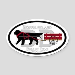 Newfoundland Draft Dog Title Oval Car Magnet