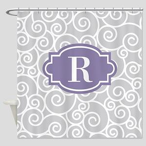 Gray Purple Swirl Monogram Shower Curtain