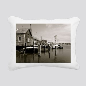 Menemsha Black & White Rectangular Canvas Pillow