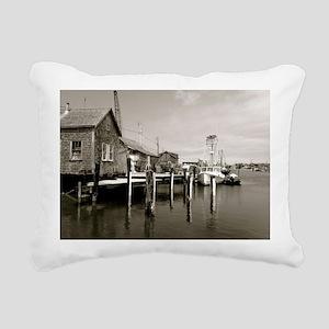 Menemsha Black & White Rectangular Canvas Pillow