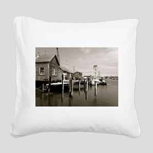 Menemsha Black & White Square Canvas Pillow