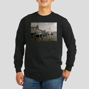 Menemsha Black & White Long Sleeve Dark T-Shirt