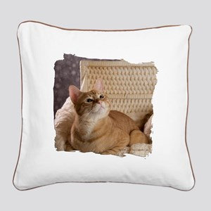 Loki In Basket 1 Square Canvas Pillow