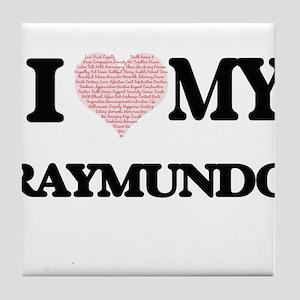 I Love my Raymundo (Heart Made from L Tile Coaster