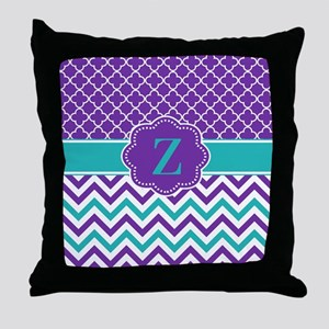 Purple Teal Quatrefoil Chevron Monogram Throw Pill