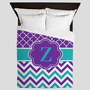 Purple Teal Quatrefoil Chevron Monogram Queen Duve