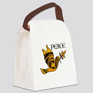 Peace Dove-Gld Canvas Lunch Bag