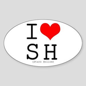 I <3 Stars Hollow Oval Sticker