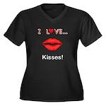 I Love Kisse Women's Plus Size V-Neck Dark T-Shirt