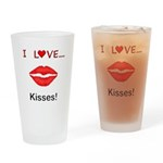 I Love Kisses Drinking Glass