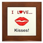 I Love Kisses Framed Tile