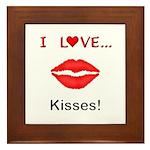 I Love Kisses Framed Tile