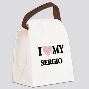 I Love my Sergio (Heart Made from Canvas Lunch Bag
