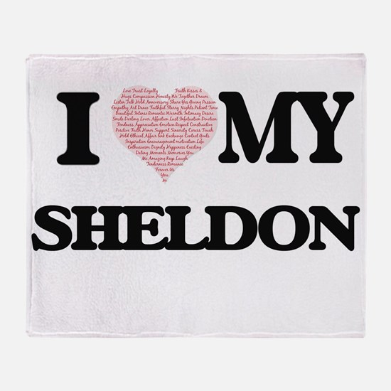 I Love my Sheldon (Heart Made from L Throw Blanket