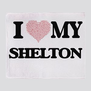 I Love my Shelton (Heart Made from L Throw Blanket