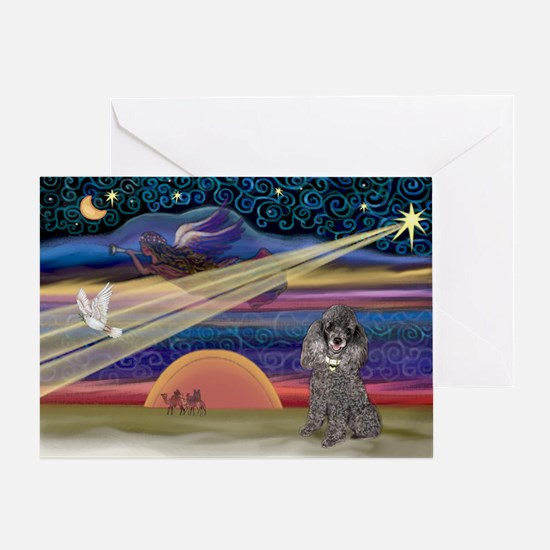 Xmas Star Silver Poodle Greeting Card