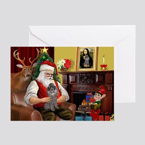 Santa's Silver Toy Poodle Greeting Cards (Pk of 2