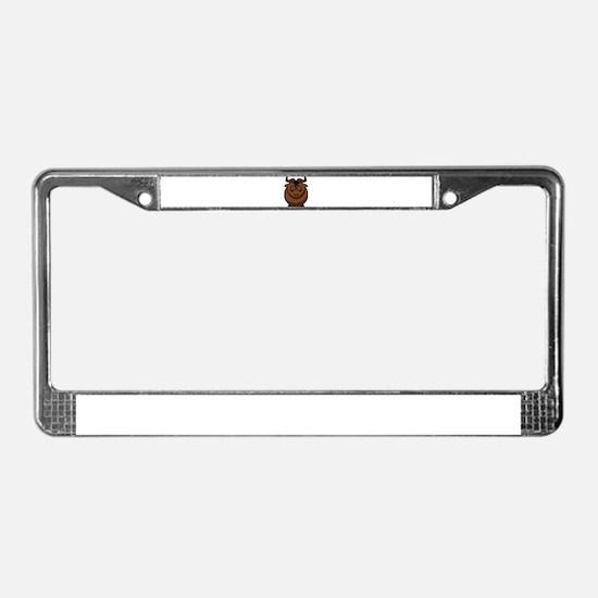 Cartoon Gnu Sleeps License Plate Frame