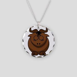 Cartoon Gnu Sleeps Necklace Circle Charm