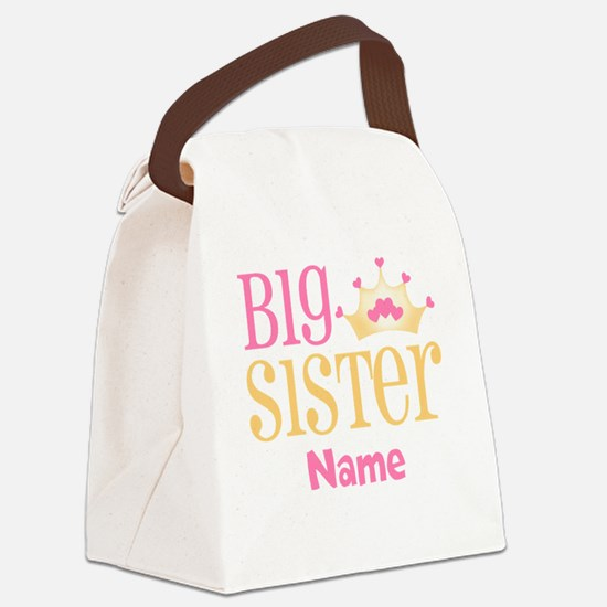 Big Sister Princess Crown Personalized Canvas Lunc