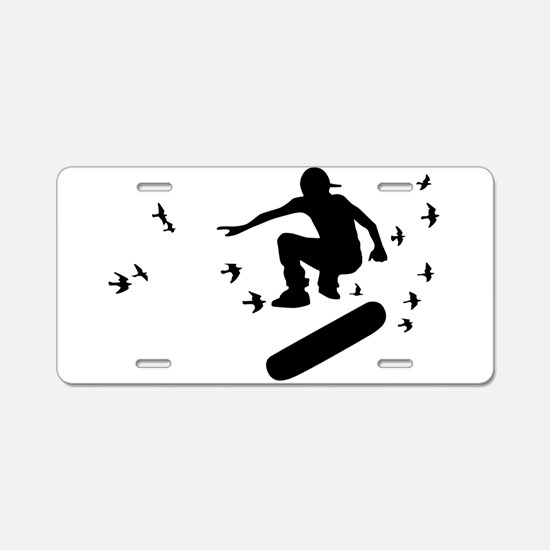 board with birds Aluminum License Plate