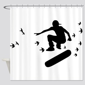 board with birds Shower Curtain