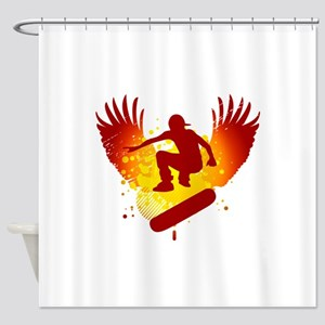 hi-fi skateboard Shower Curtain