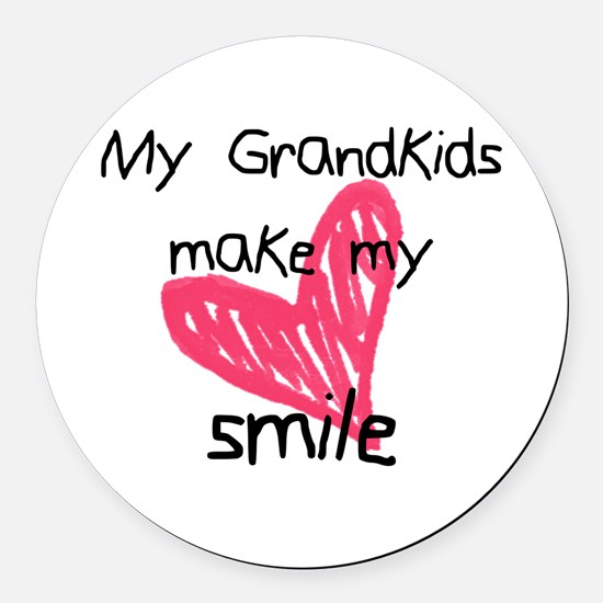 Grandkids make my heart smile Round Car Magnet
