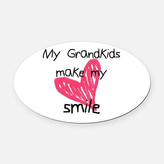 Grandkids make my heart smile Oval Car Magnet