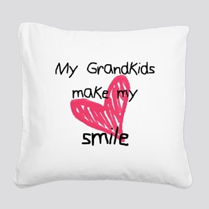 Grandkids make my heart smile Square Canvas Pillow