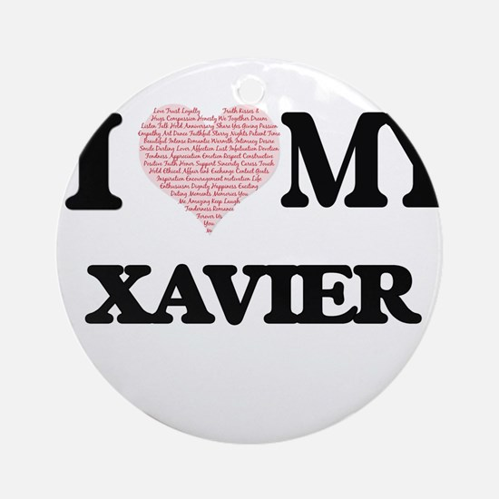 I Love my Xavier (Heart Made from L Round Ornament