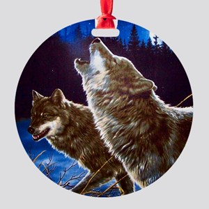 Howling Wolves Round Ornament