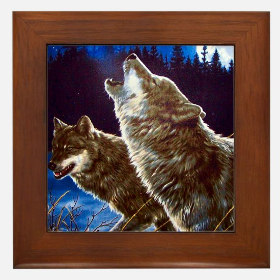 Howling Wolves Framed Tile