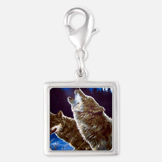 Howling Wolves Silver Square Charm