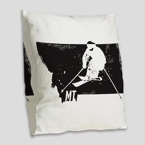 Ski Montana Burlap Throw Pillow