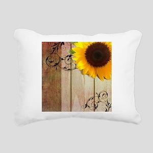 swirls barn wood sunflow Rectangular Canvas Pillow