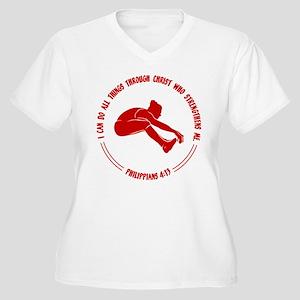 LONG JUMP, PHIL.4 Women's Plus Size V-Neck T-Shirt