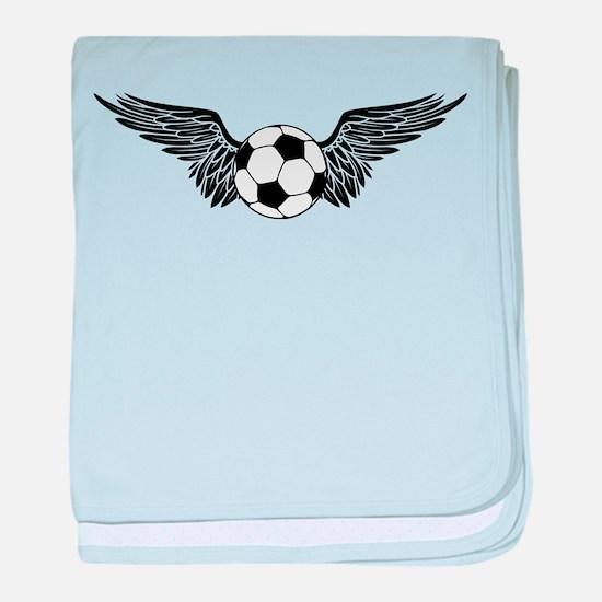 flying soccer ball baby blanket