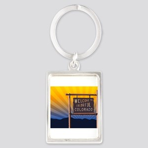 welcome to colorful colorado sign Keychains