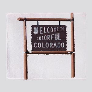 welcome to colorful colorado signage Throw Blanket