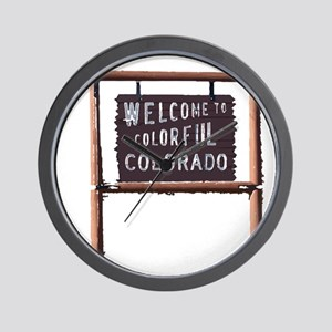 welcome to colorful colorado signage Wall Clock
