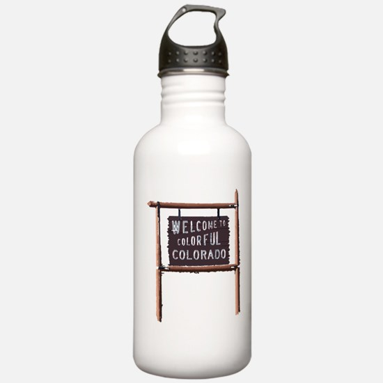 welcome to colorful colorado signage Water Bottle