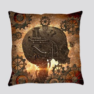Awesome steampunk Skull with gears Everyday Pillow