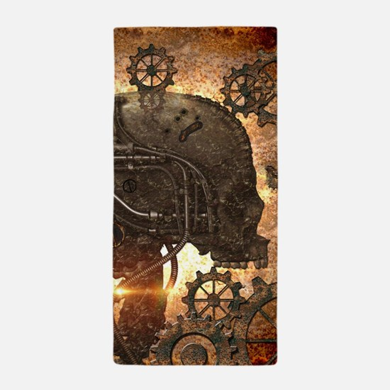 Awesome steampunk Skull with gears Beach Towel