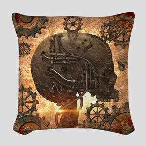 Awesome steampunk Skull with gears Woven Throw Pil