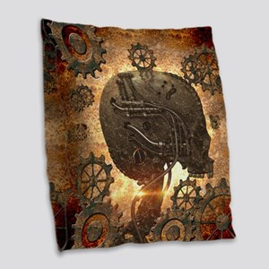 Awesome steampunk Skull with gears Burlap Throw Pi