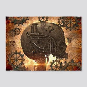 Awesome steampunk Skull with gears 5'x7'Area Rug